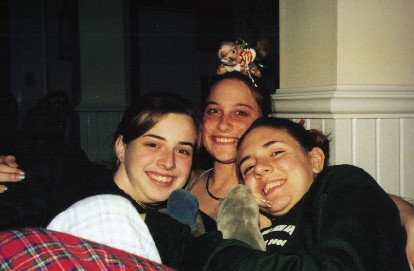 Jen S., Hillary, and Jen C at new member sleepover 2000