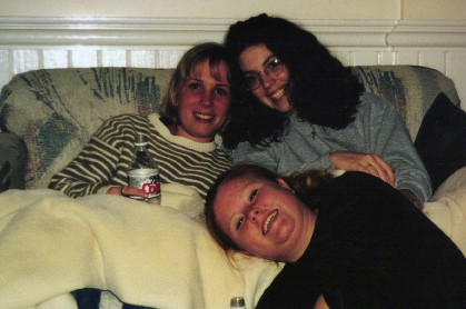 Steph, Misty, and Lora at new member sleepover 2000